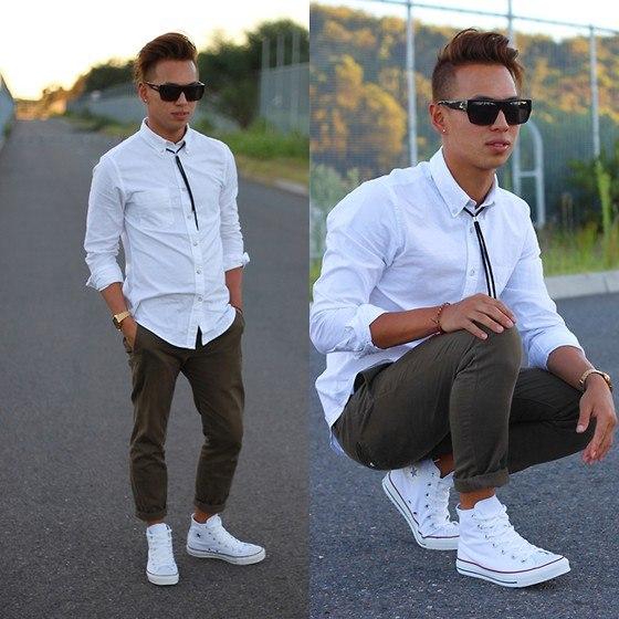 Галстук-шнурок с белой рубашкой