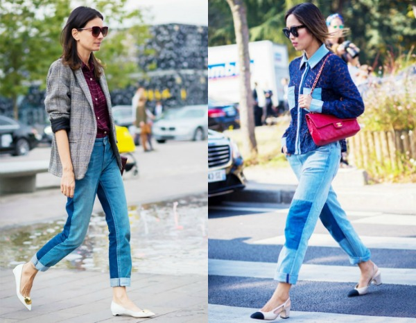 Модные женские джинсы с контрастными вставками весна-лето 2017
