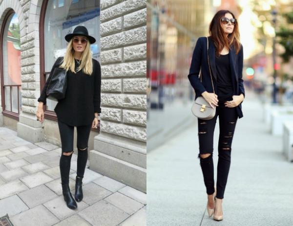 Модные черные скинни весна-лето 2017