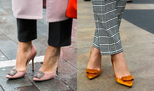 Розовые атласные туфли