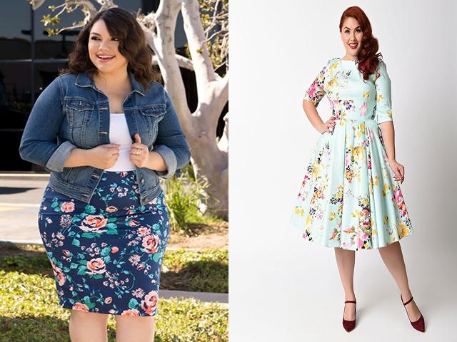 Платье для полных с цветочным узором 2017