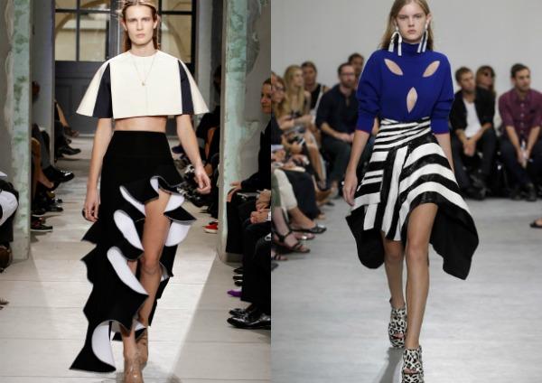 Асимметричная юбка в полоску 2017