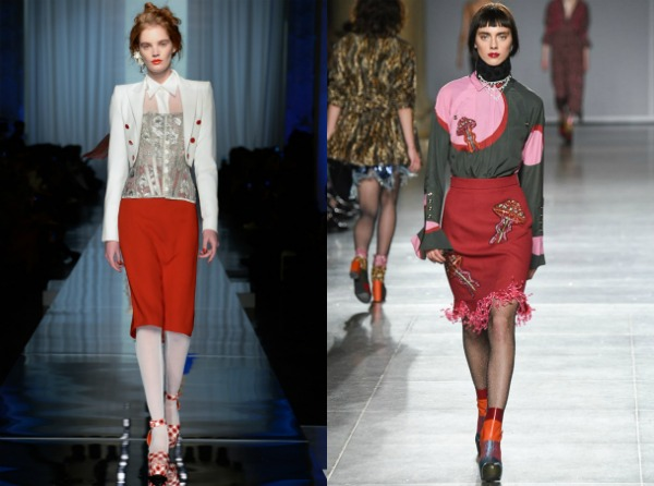 Красная юбка-карандаш весна-лето 2017