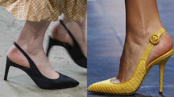 Желтые босоножки с заостренным носком 2017