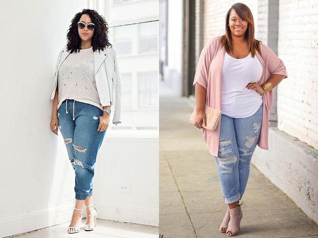 Как носить джинсы бойфренды полным девушкам