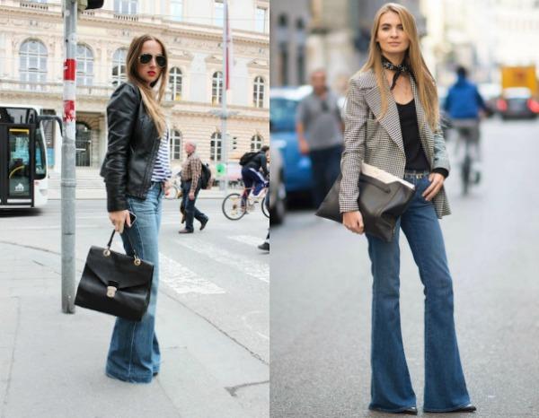 Модные женские джинсы клёш весна лето 2017