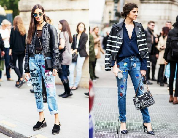 Модные женские джинсы с нашивками весна-лето 2017