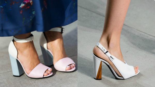 Белые босоножки на массивном каблуке 2017