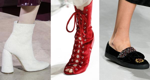Вельветовая женская обувь осень-зима 2017-2018