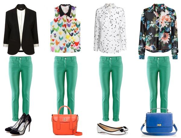 Зеленые брюки с блузкой в цветок