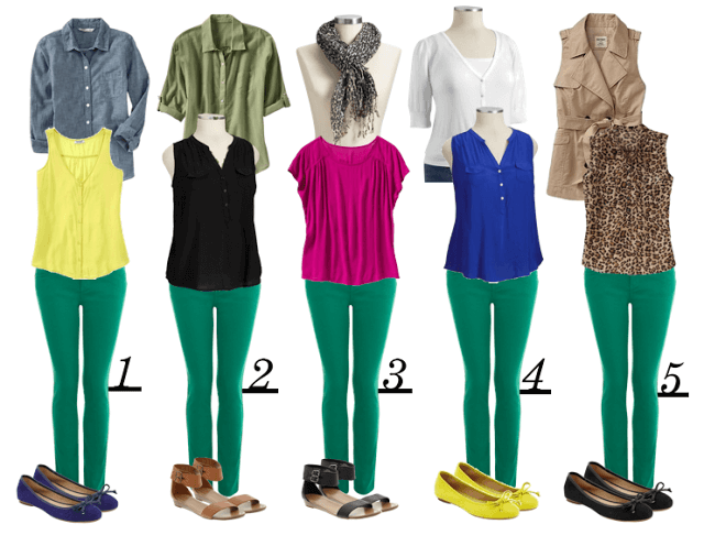 Как правильно носить зеленые брюки
