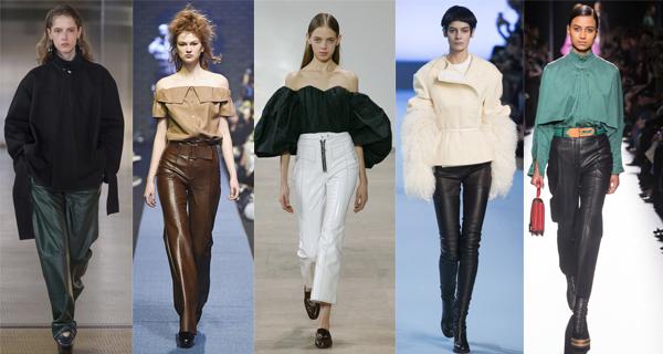 Черные кожаные женские брюки 2018