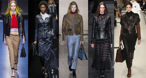 Черный кожаный женский пиджак