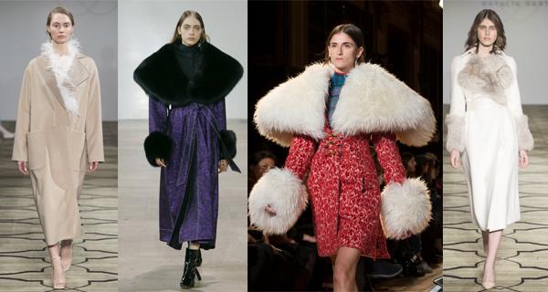 Синее женское пальто с меховым воротником 2018