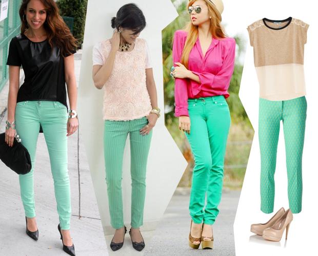 Модные образы с зелеными брюками