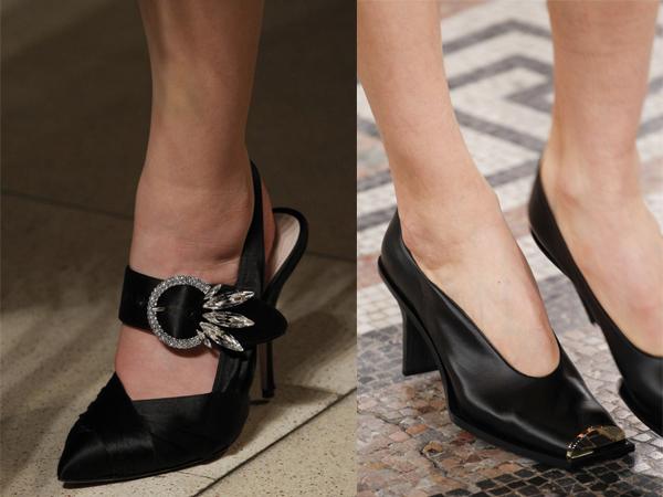 Черные атласные туфли 2017