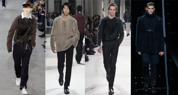 Черный мужской свитер с мехом 2018