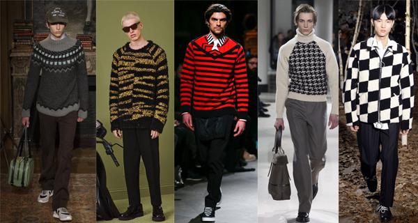 Мужской красный свитер в полоску