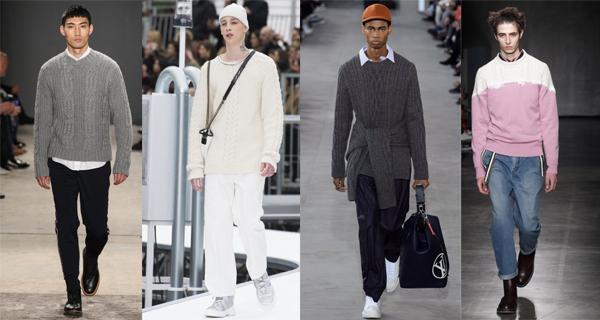 Белый мужской вязаный свитер 2018