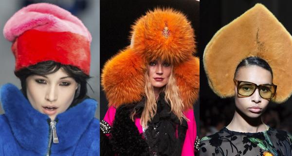 Оранжевая меховая шапка
