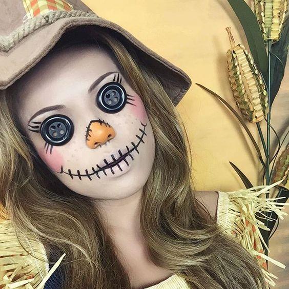 Грим чучела к Хэллоуину