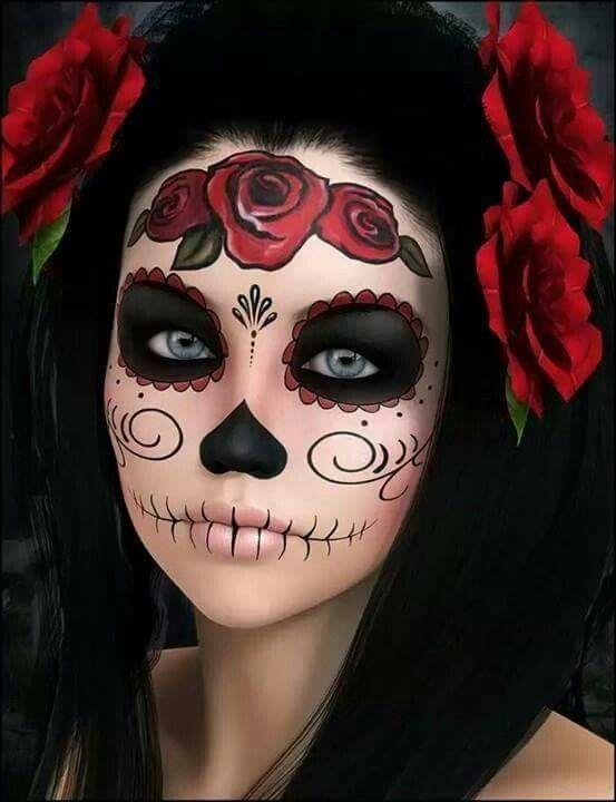 Макияж цветочный череп