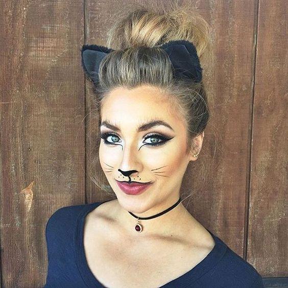 Макияж кошечки к Хэллоуину