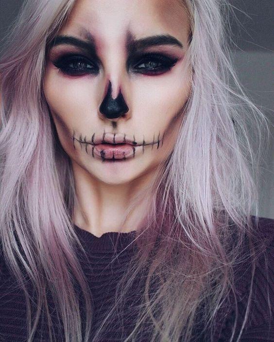 Макияж в виде черепа на Хэллоуин