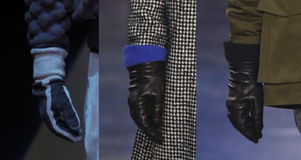 Черные кожаные мужские перчатки