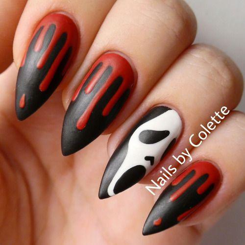 Красно-черный маникюр к Хэллоуину