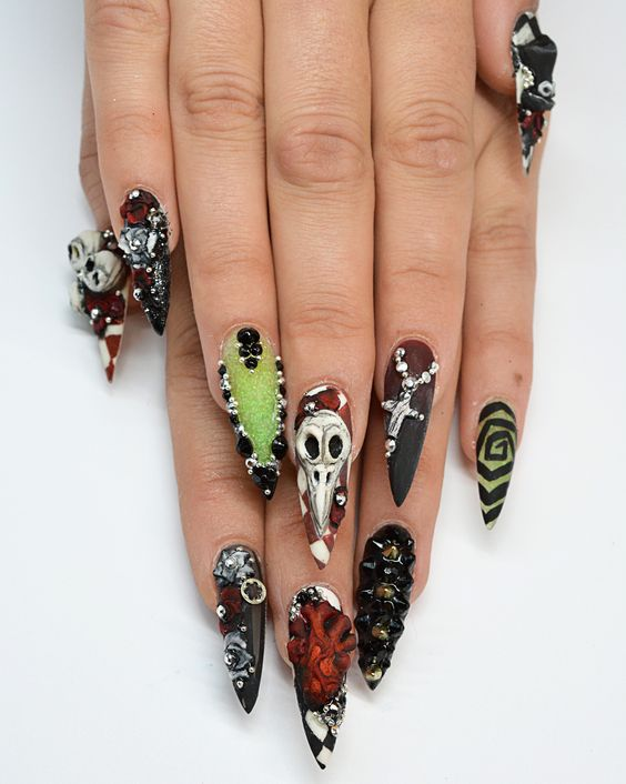Объемный дизайн ногтей к Хэллоуину