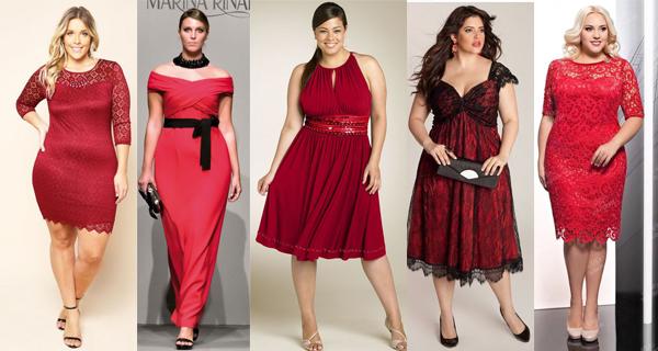 Длинное красное платье для полных