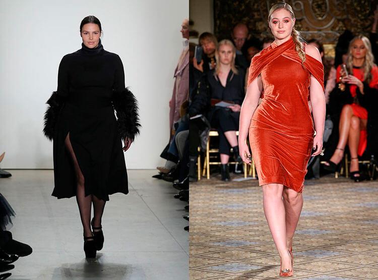 Черное бархатное платье для полных
