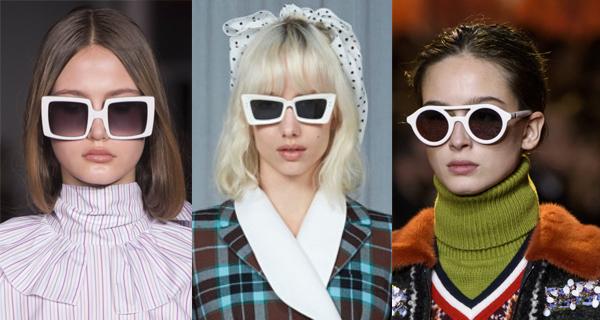 солнцезащитные очки в белой оправе 2018
