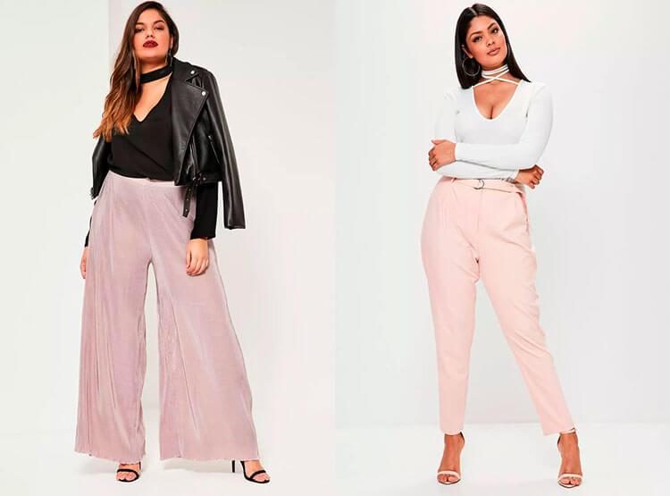 Как носить розовые брюки для полных
