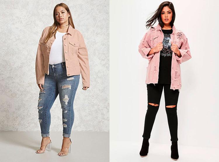 Розовая куртка для полных