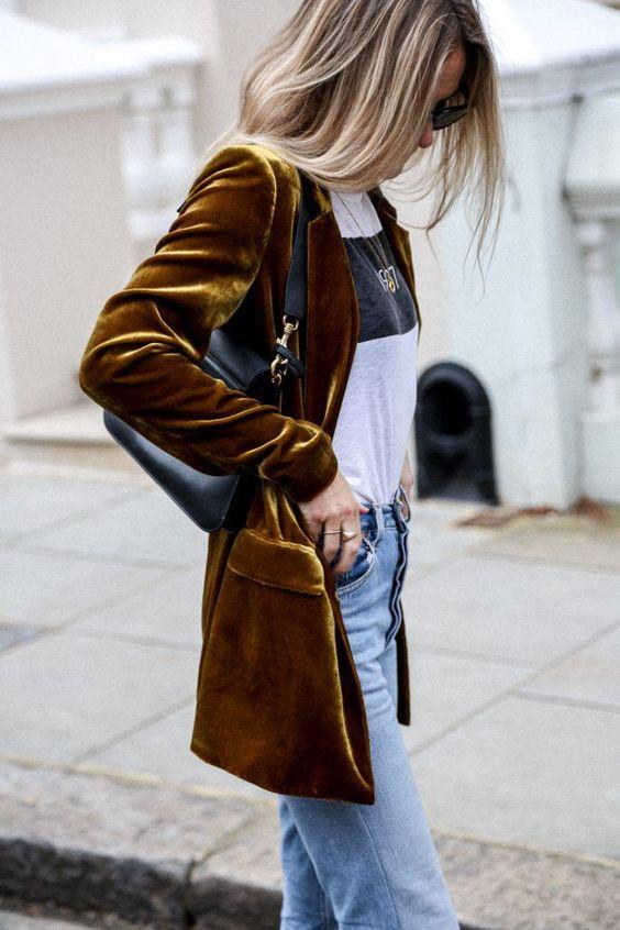 Удлиненный пиджак из вельвета