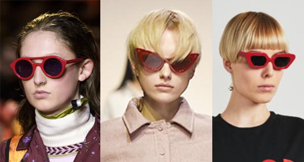 Модные солнцезащитные очки в красной оправе осень-зима 2017-2018