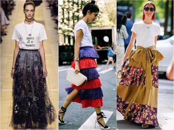 Как носить футболку с длинной юбкой