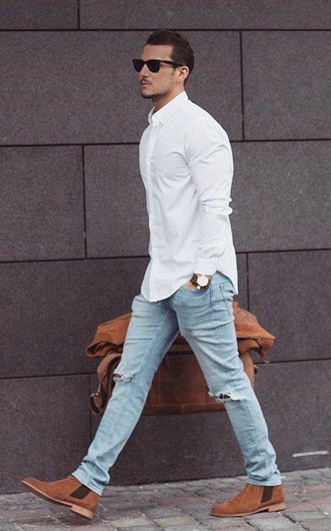 Как носить рубашку с рваными джинсами