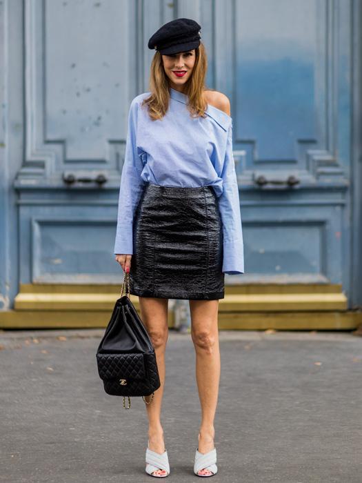 Как носить кожаную юбку осень 2017