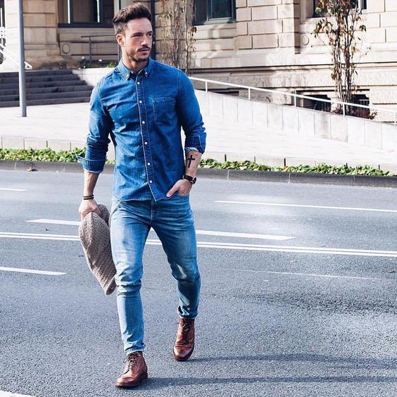 Мужская джинсовая рубашка с джинсами
