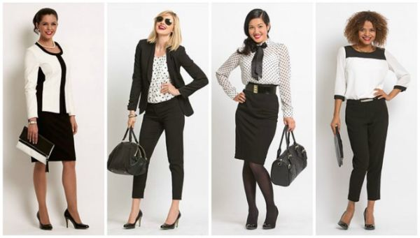 Черно-белая деловая одежда