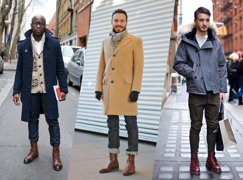 Мужские сапоги с пальто фото