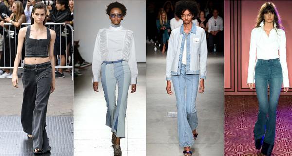 Светлые джинсы клеш