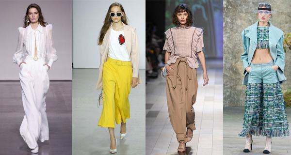 Желтые широкие женские брюки