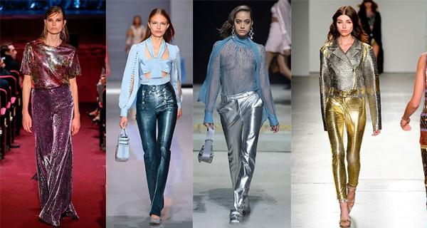 Серебряные женские брюки