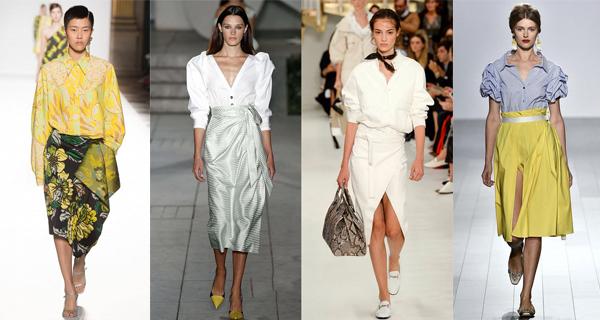 Белая юбка с запахом