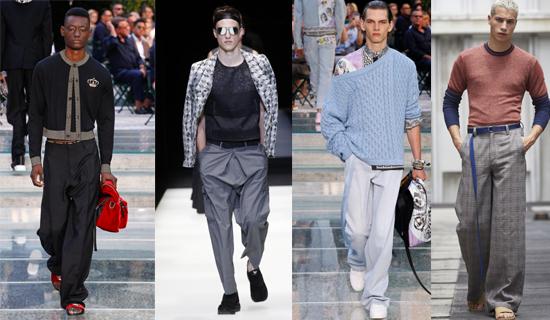 Широкие серые мужские брюки