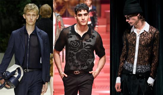 Черная полупрозрачная мужская рубашка